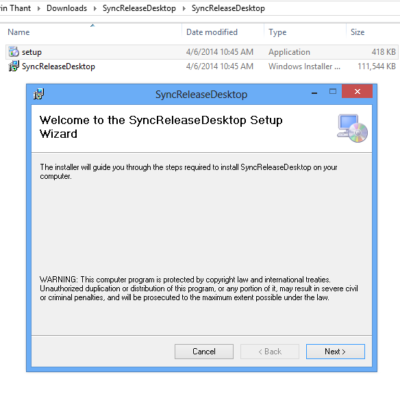 SyncRelease Desktop Installation Wizard